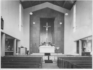 The original interior of Our Lady of Mount Carmel (then St Columba's) Church, Wentworthville, 1955