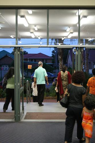 Parishioners leaving the parish centre