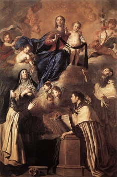 Pietro Novelli, Our Lady of Mount Carmel and Saints (Simon Stock, Angelus of Jerusalem, Mary Magdalene de'Pazzi, Teresa of Avila),  Museo Diocesano di Palermo.